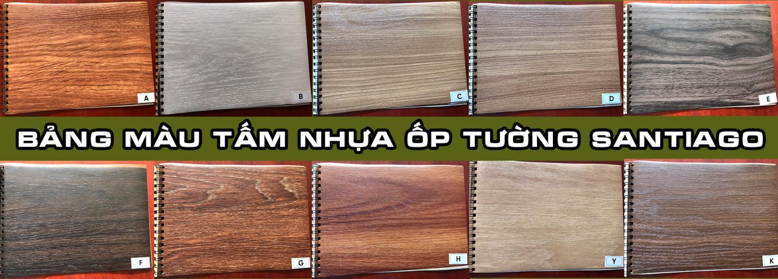 bảng màu sắc tấm nhựa ốp tường giả gỗ santiago