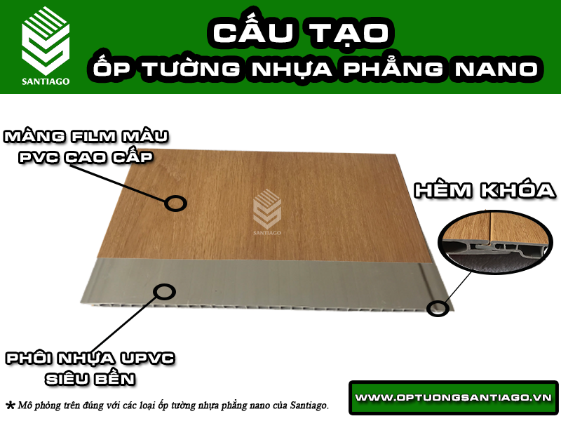 cấu tạo tấm nhựa ốp tường ốp trần phẳng giả gỗ santiago