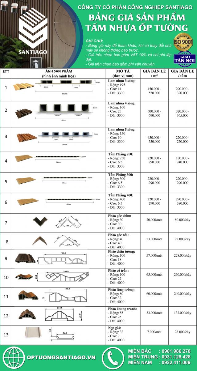 bảng báo giá tấm nhựa ốp tường giả gỗ santiago và phụ kiện mới nhất